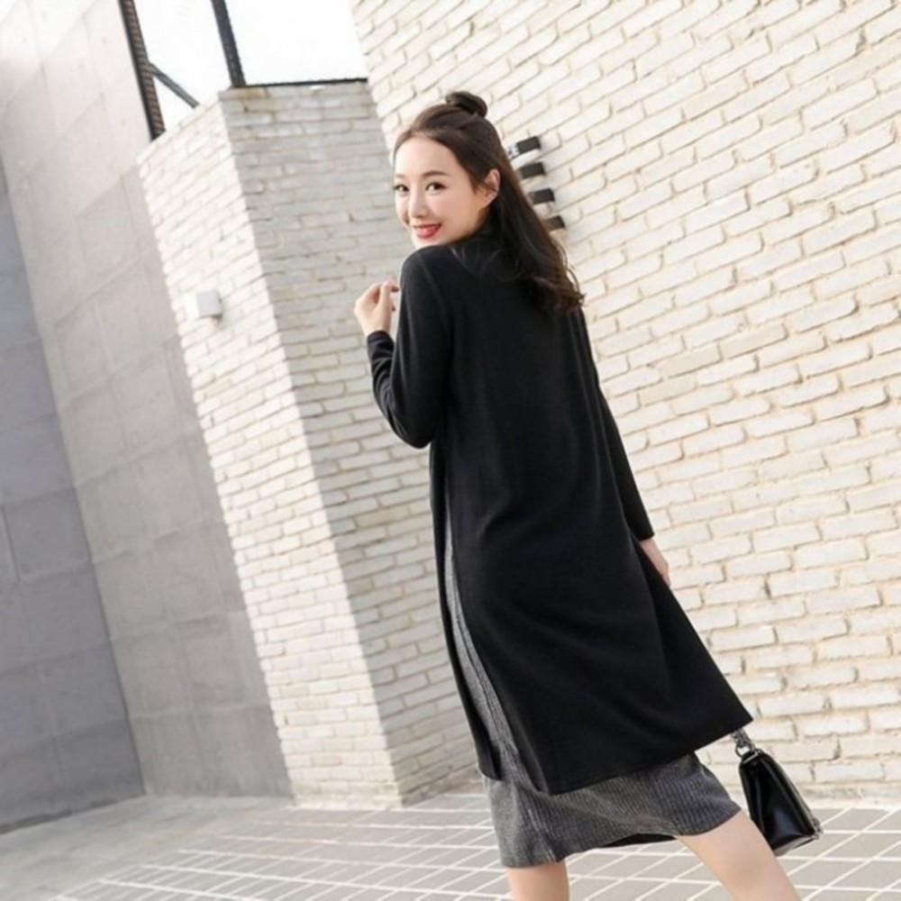 假兩件哺乳裙 【B0261】 彈力 毛衣 開叉 長袖 長版T 孕婦裝 哺乳裙 長裙 哺乳裝 針織