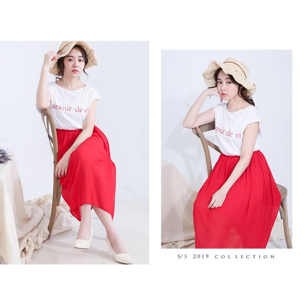 韓國哺乳裙 【B0319GU】 小包袖 假兩件 雪紡飄飄 哺乳裙