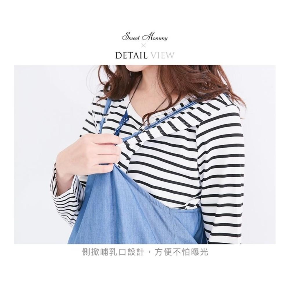 短袖哺乳裙 【B0458GU】 兩件式 條紋 哺乳裙 背心裙 牛仔裙 魚尾裙 魚尾洋裝 孕婦裝