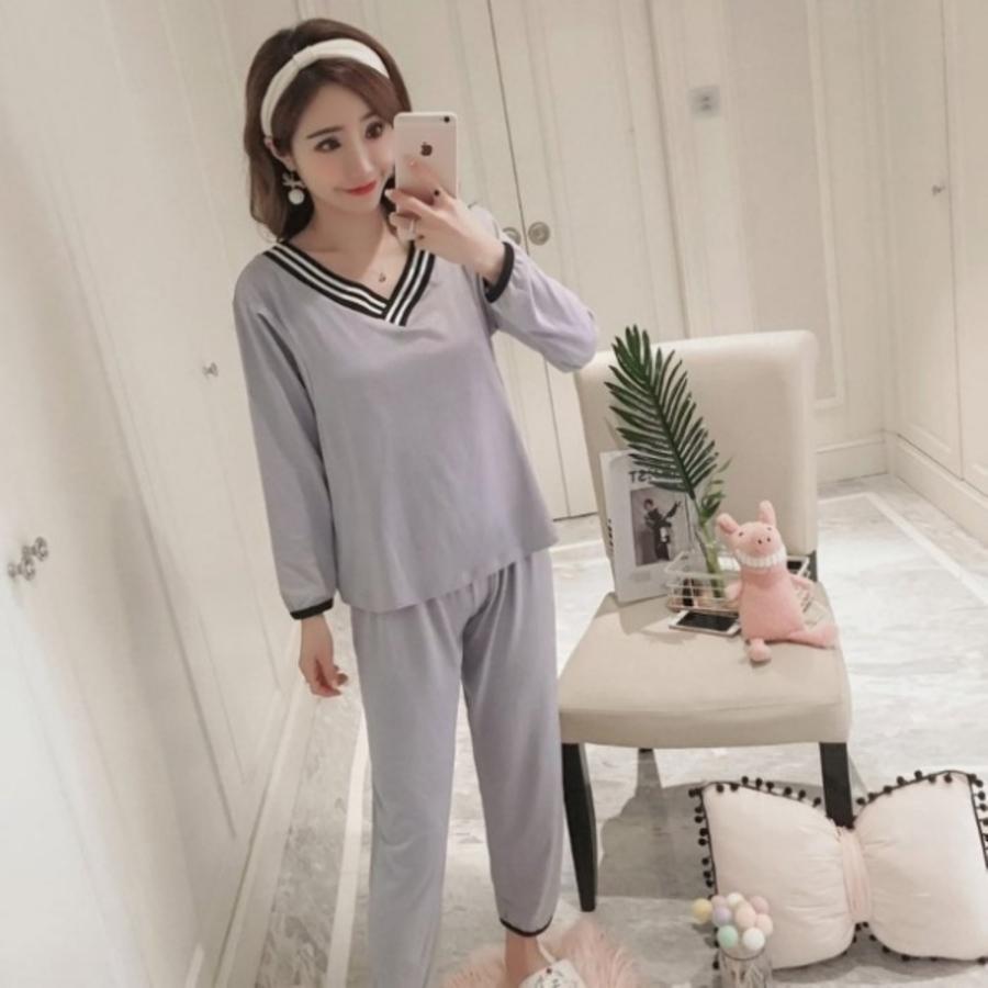 哺乳套裝 【B0810】 條紋 V領 輕薄 長袖 柔棉 哺乳睡衣 月子裝 哺乳裝 灰色