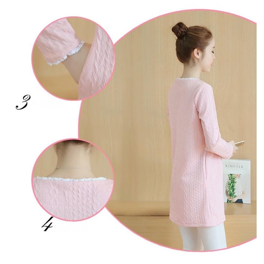 哺乳裝 【B1020】 韓系 麻花 花紋 蕾絲 長袖 哺乳洋裝 加厚 保暖 孕婦裝 哺乳衣
