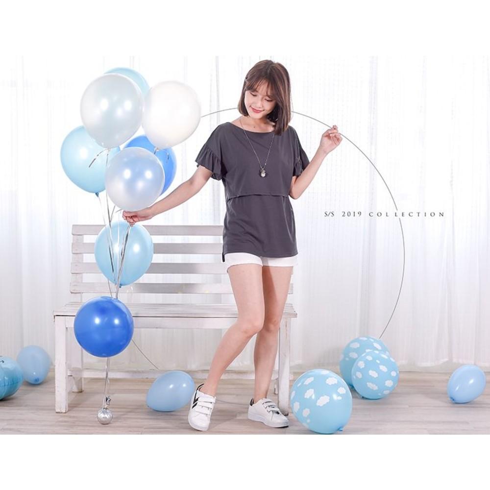 哺乳棉T【B1409GU】喇叭袖 純色 哺乳衣 孕婦裝 孕哺兩穿 哺乳裝 封面照片