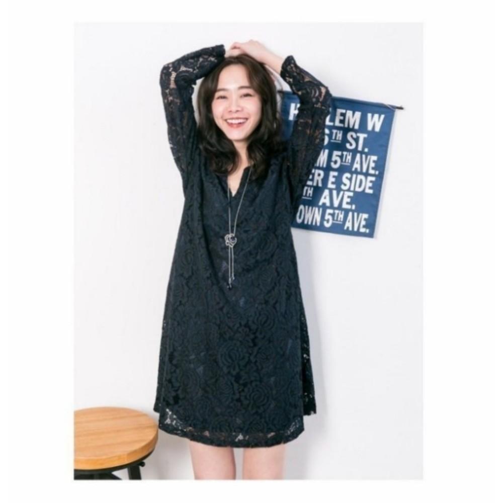 韓系哺乳裙 【B1557GU】 滿版 唯美 蕾絲 長袖 傘狀 哺乳洋裝 孕婦裝 V領 孕婦洋裝