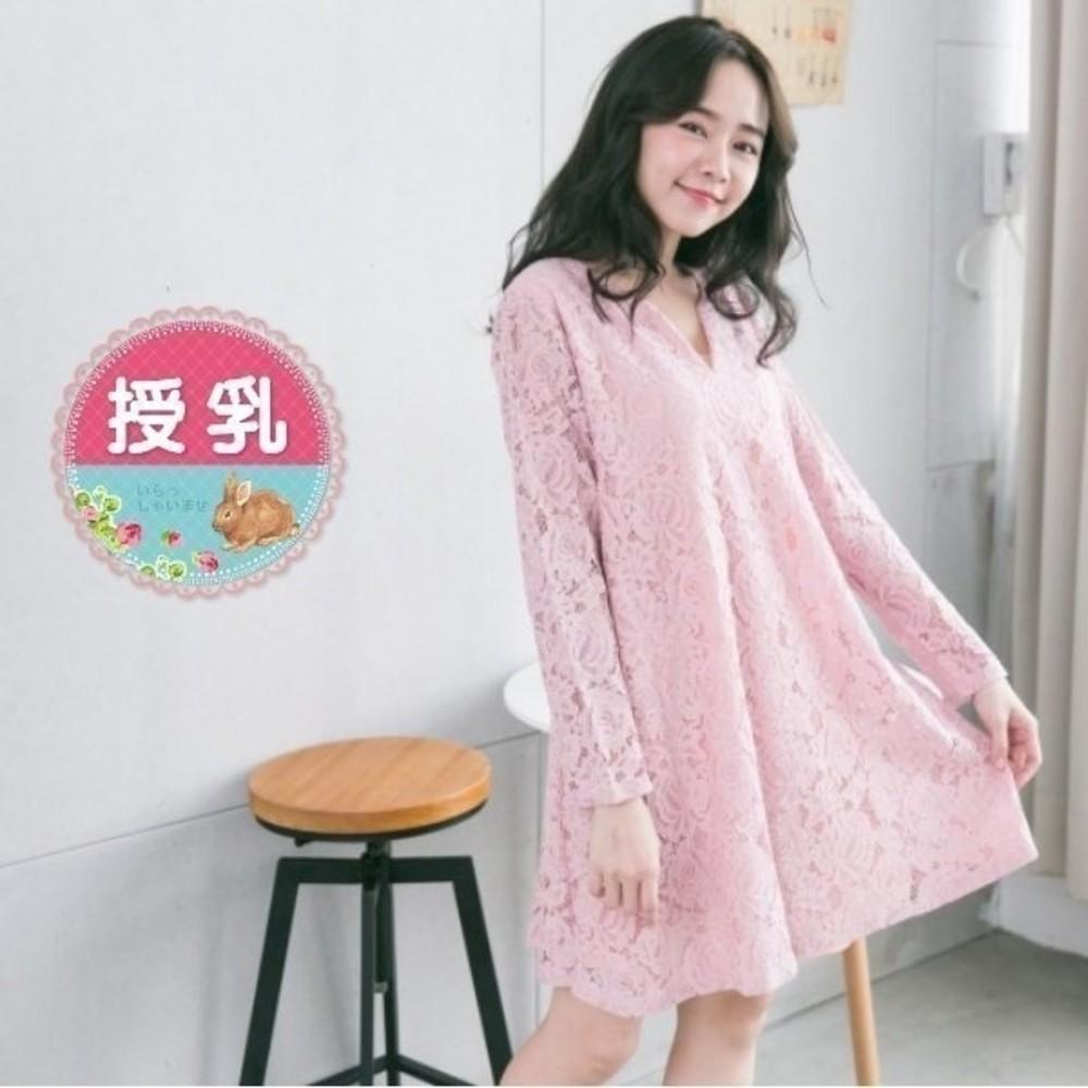 韓系哺乳裙 【B1557GU】 滿版 唯美 蕾絲 長袖 傘狀 哺乳洋裝 孕婦裝 V領 孕婦洋裝 封面照片