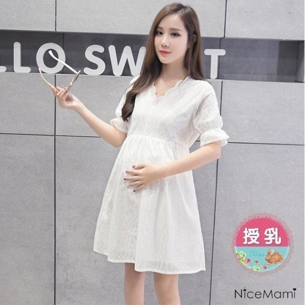B2030-唯美氛圍哺乳裙 【B2030】 布蕾絲 泡泡 短袖 孕婦裝 娃娃裝 哺乳衣 哺乳洋裝
