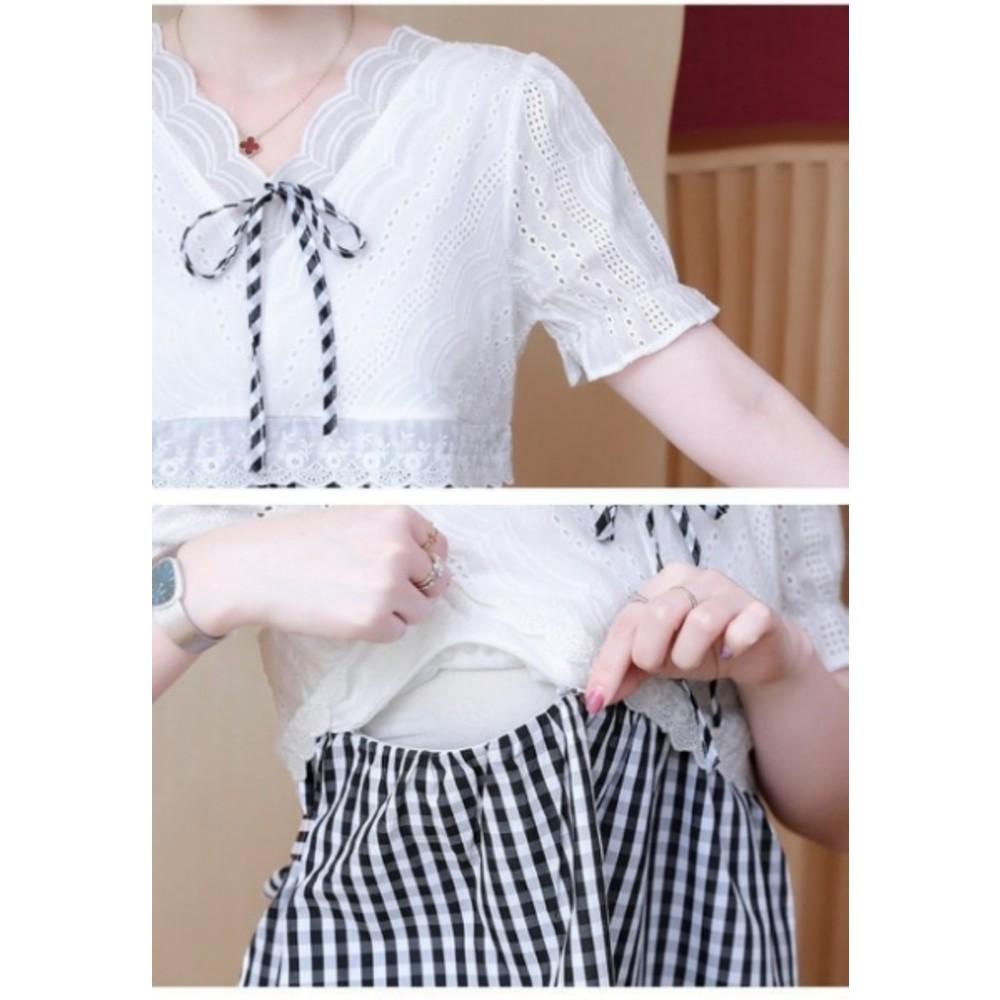 韓系蕾絲 哺乳洋裝【B2203】格紋 條紋 布蕾絲 公主袖 韓 短袖 孕婦裝 哺乳裝