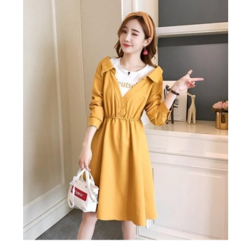 哺乳 洋裝【B2533】韓系 假兩件 拼接 超質感 長袖 洋裝 孕婦裝 哺乳衣