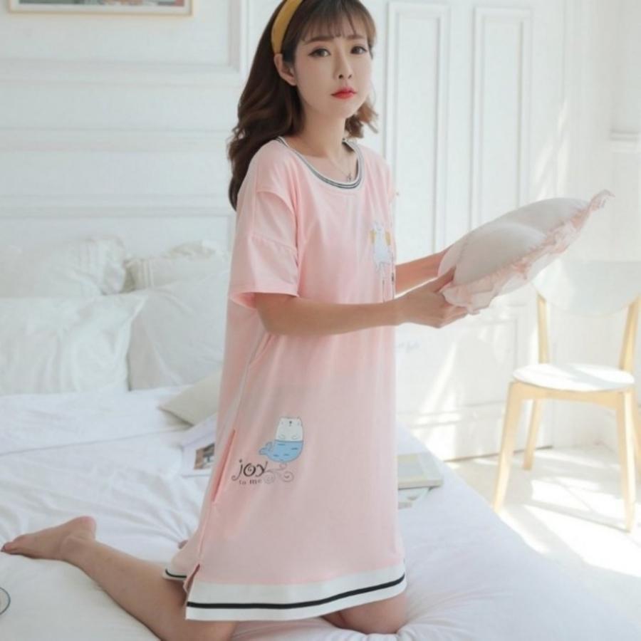穗喵咪哺乳裙 【B2552】 側開叉 哺乳裙孕婦睡衣睡裙 月子服孕哺兩穿 孕婦哺乳衣