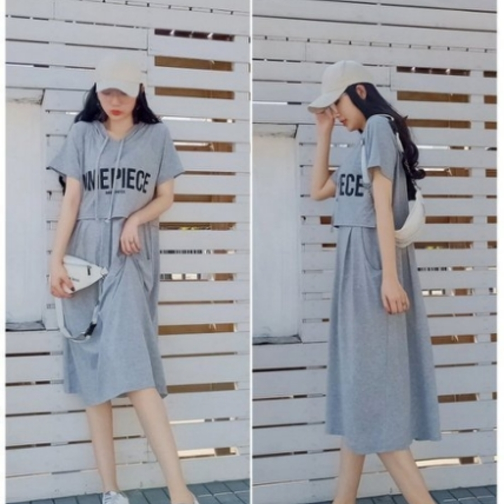 哺乳洋裝 【B2936】 連帽 抽繩 字母 假兩件 純棉 哺乳衣 短袖 蕾絲 拼接 網紗 孕婦裝