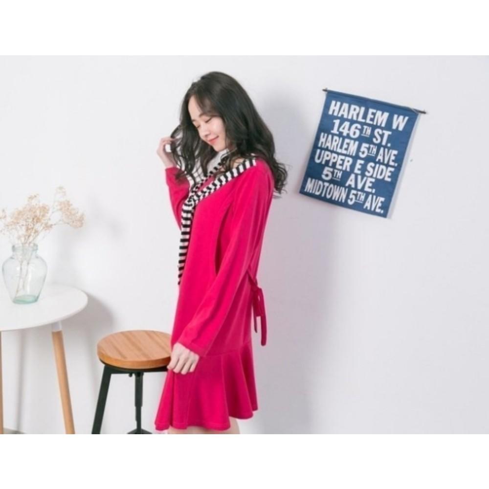 條紋哺乳裙 【B3057GU】 領巾 長袖 哺乳裙 圍巾 魚尾裙 孕婦裝