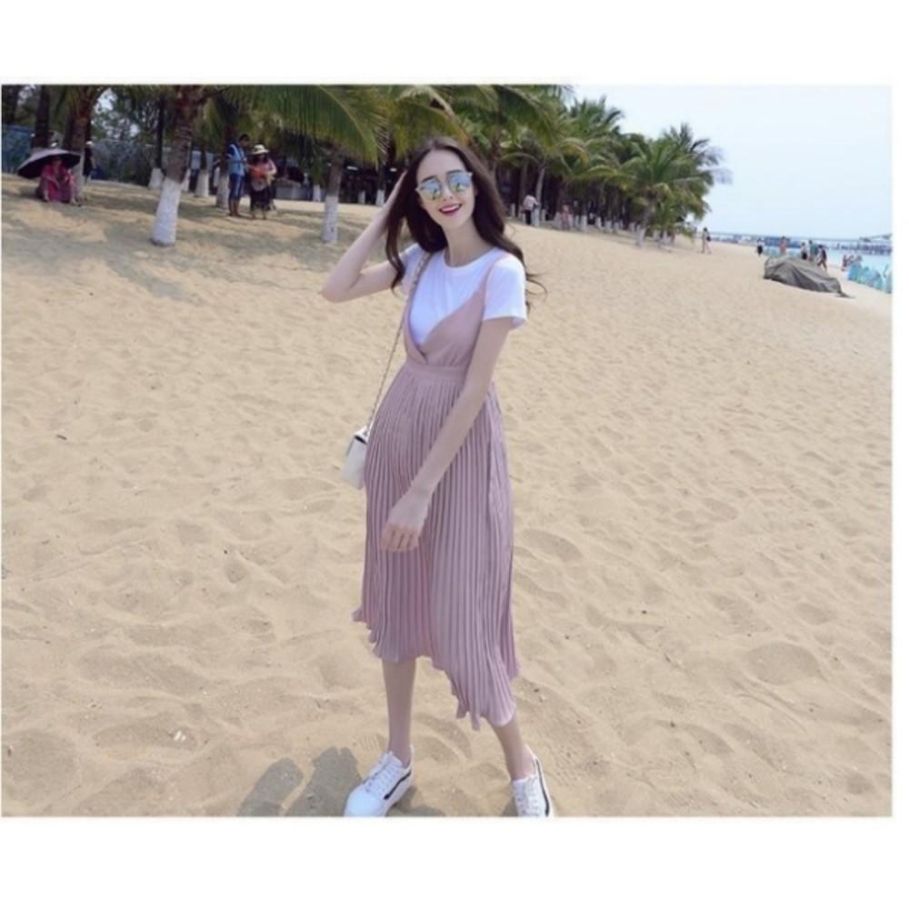 哺乳長裙 【B3093】 兩件式 百褶 哺乳衣 吊帶裙 修身 長裙 孕婦裝 背心裙
