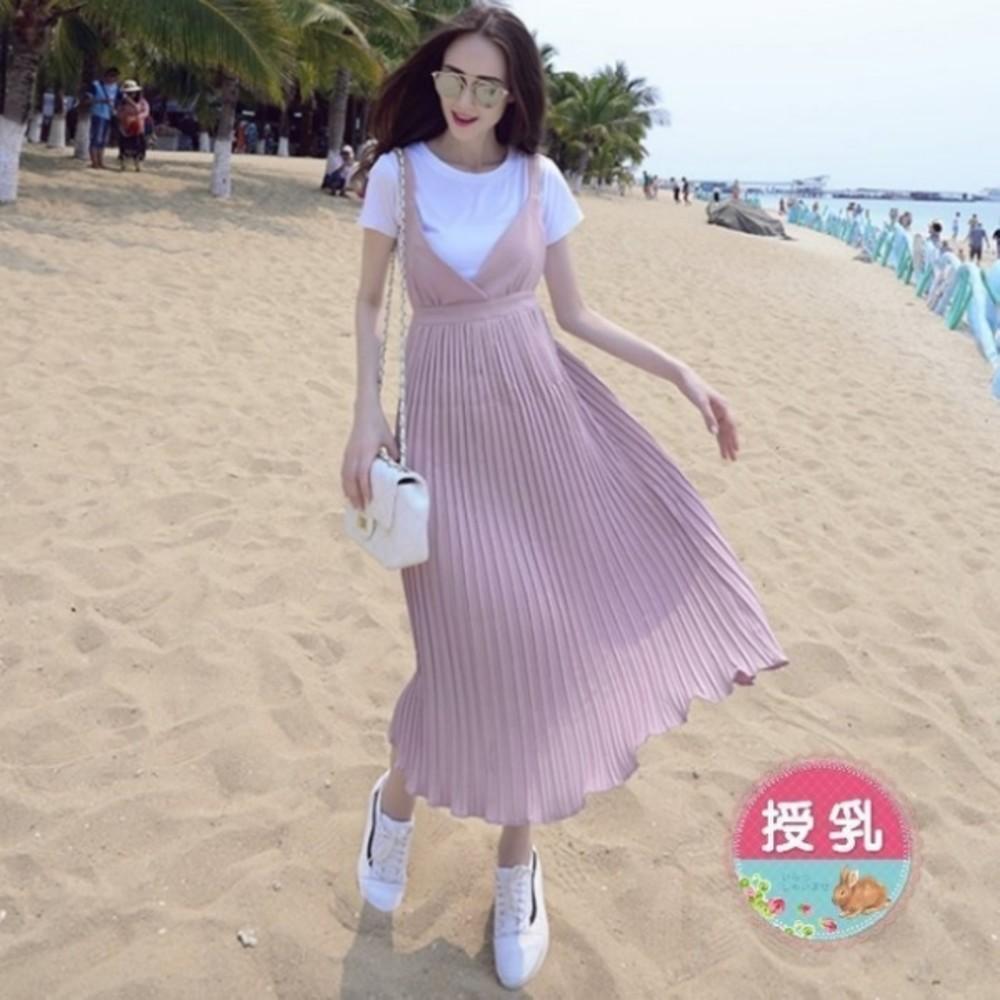 B3093-哺乳長裙 【B3093】 兩件式 百褶 哺乳衣 吊帶裙 修身 長裙 孕婦裝 背心裙