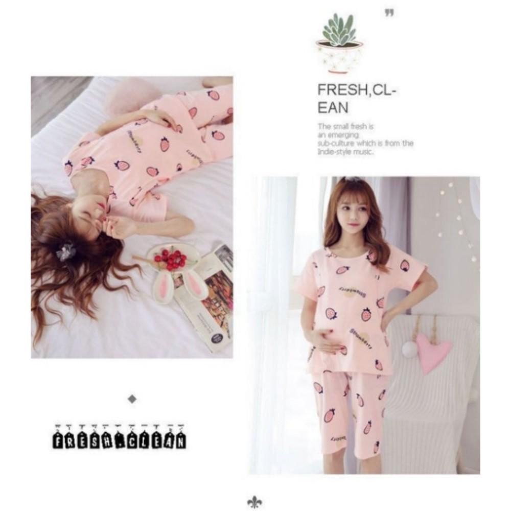 哺乳套裝 【B3230】 短袖 印花 孕婦睡衣 套裝 孕婦裝 哺乳裝 草莓 哺乳套裝 甜蜜草莓