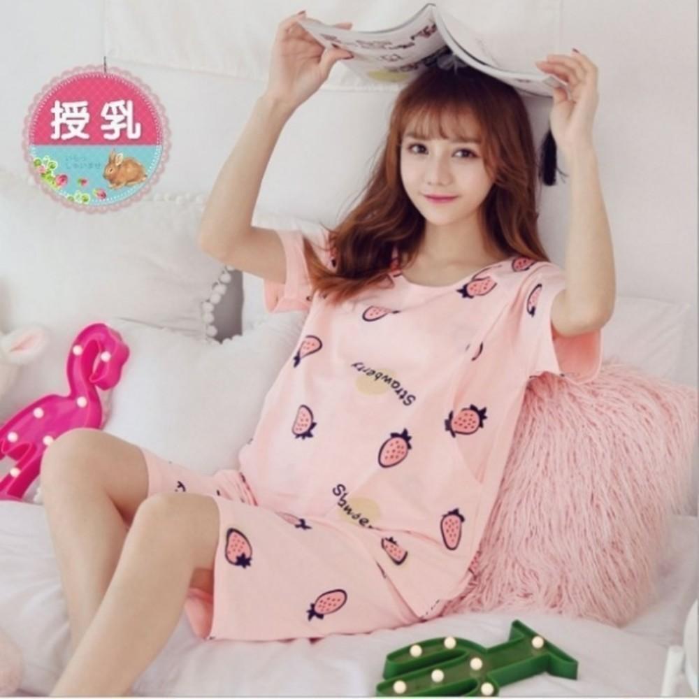 哺乳套裝 【B3230】 短袖 印花 孕婦睡衣 套裝 孕婦裝 哺乳裝 草莓 哺乳套裝 甜蜜草莓 封面照片