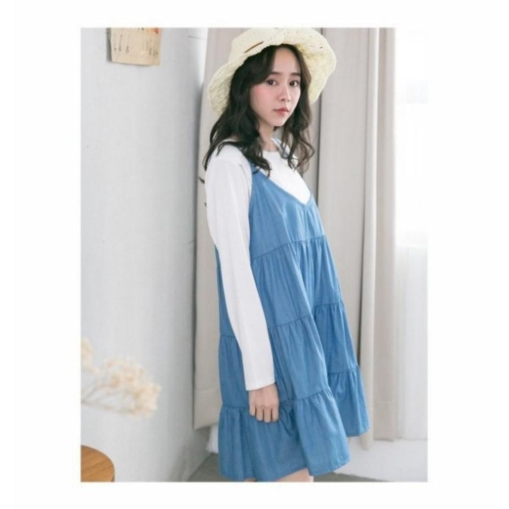 兩件式哺乳裙 【B3257GU】 傘狀 吊帶裙 長袖 長版T 孕婦裝 背心裙 哺乳衣
