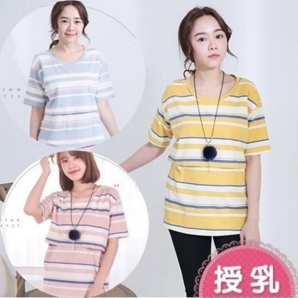 哺乳彩條紋上衣【B3409GU】短袖 方領 條紋 哺乳衣 孕婦裝 哺乳裝