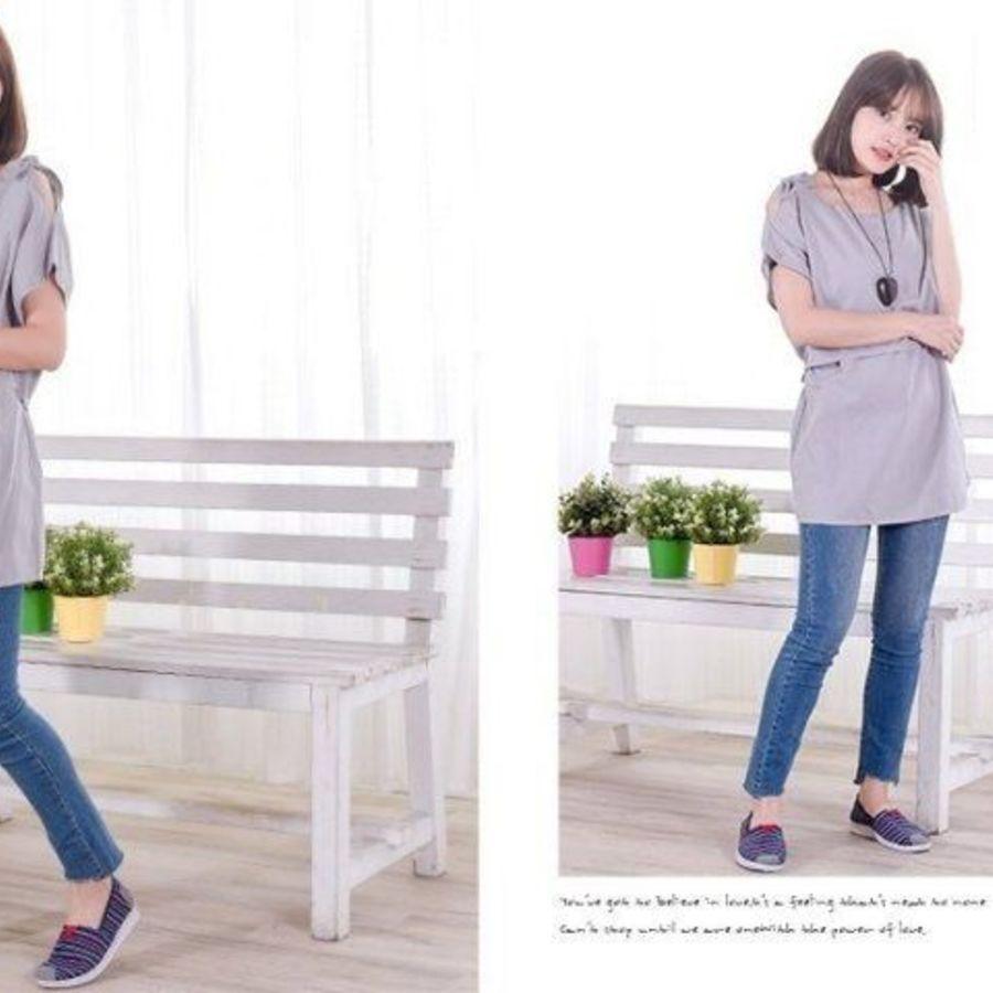 哺乳棉麻上衣【B4109GU】短袖 純色 肩綁結 哺乳衣 孕婦裝 哺乳裝