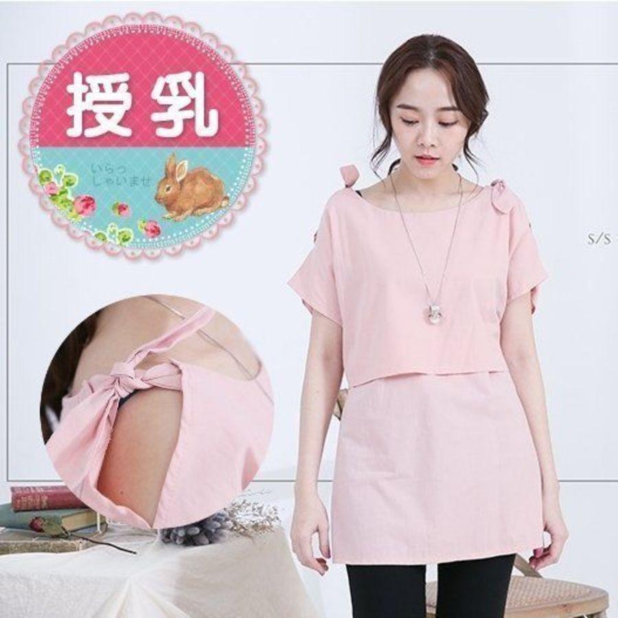 B4109GU - 哺乳棉麻上衣【B4109GU】短袖 純色 肩綁結 哺乳衣 孕婦裝 哺乳裝