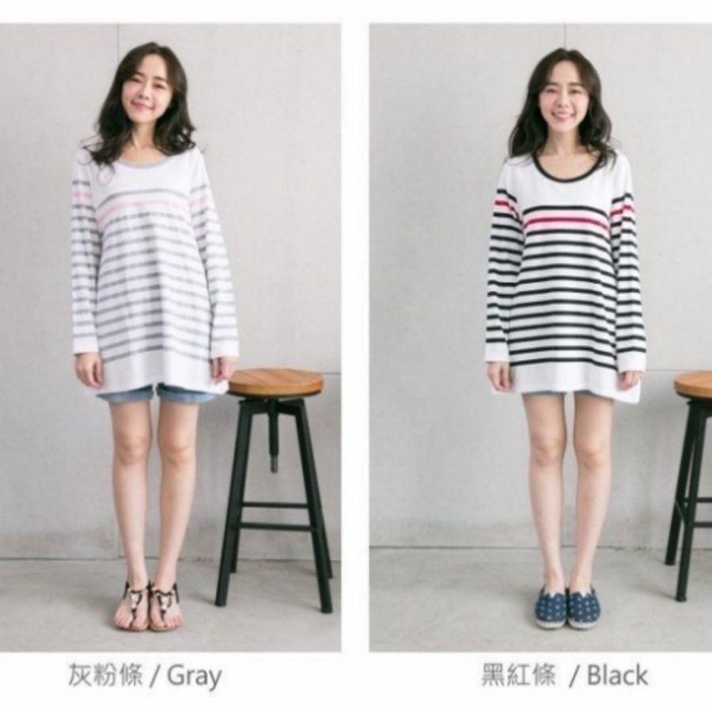 韓版哺乳裙 【B4157GU】 兩件式 長袖 哺乳裙 條紋 孕婦洋裝 哺乳 親子裝 包屁衣