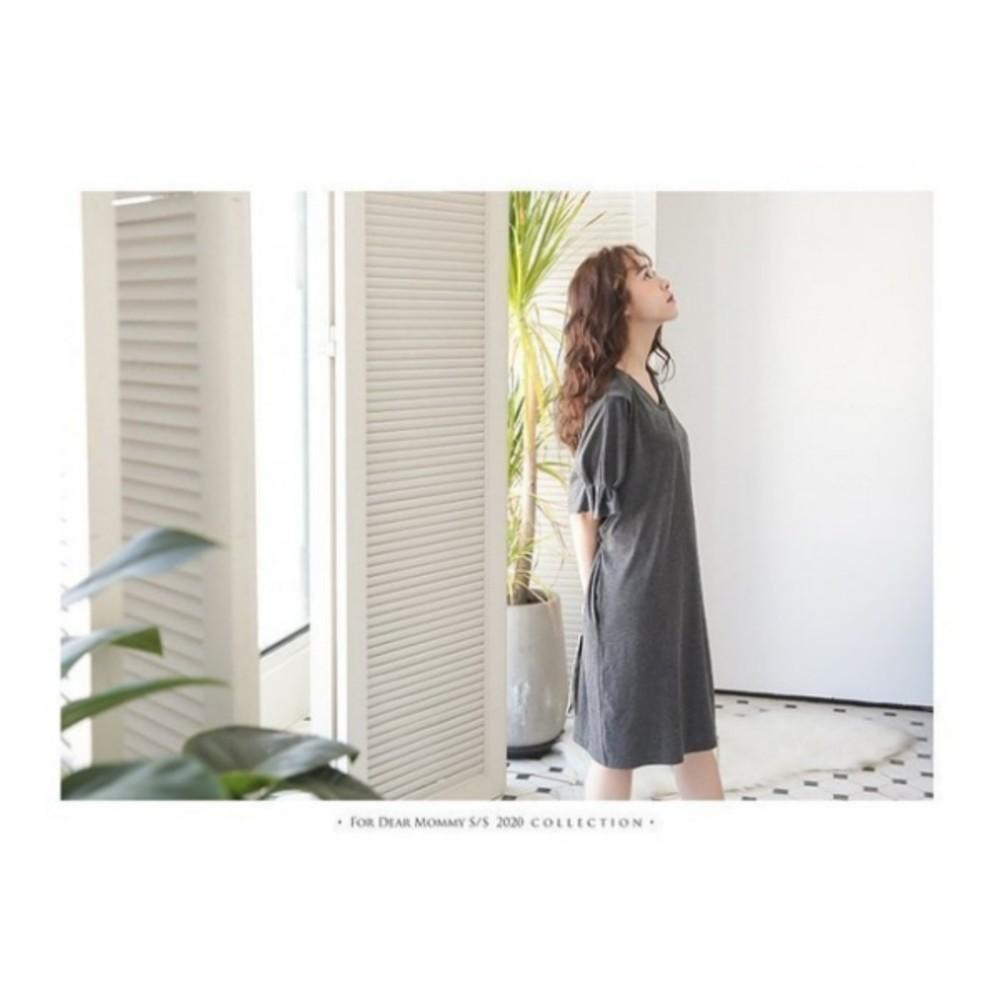 泡泡袖洋裝 【B4500GU】 純色 V領 短袖 哺乳衣 孕婦裝 哺乳裝 哺乳洋裝