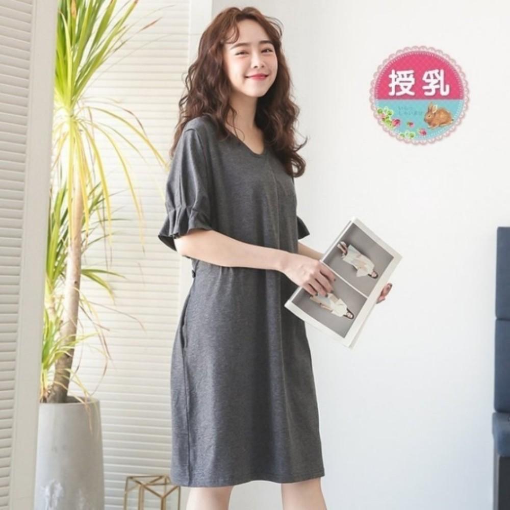 B4500GU-泡泡袖洋裝 【B4500GU】 純色 V領 短袖 哺乳衣 孕婦裝 哺乳裝 哺乳洋裝