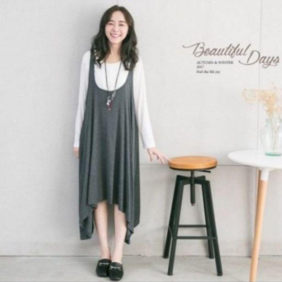 哺乳裙 【B5057GU】 兩件式 長袖 哺乳裙 哺乳棉T 背心裙 哺乳 傘狀 不規則 長裙