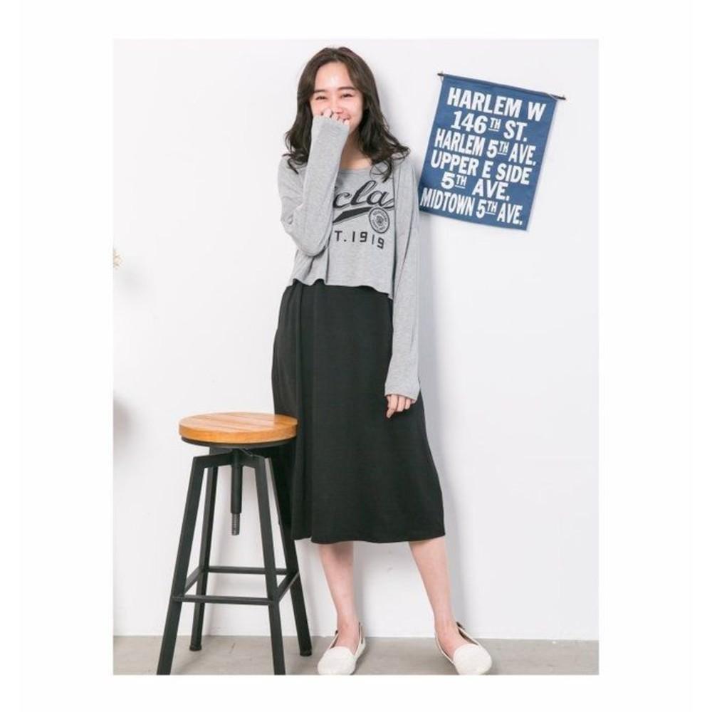 實拍 洋裝【B5157GU】 字母 長袖 兩件式 長裙 哺乳裙 哺乳裝 孕婦裝