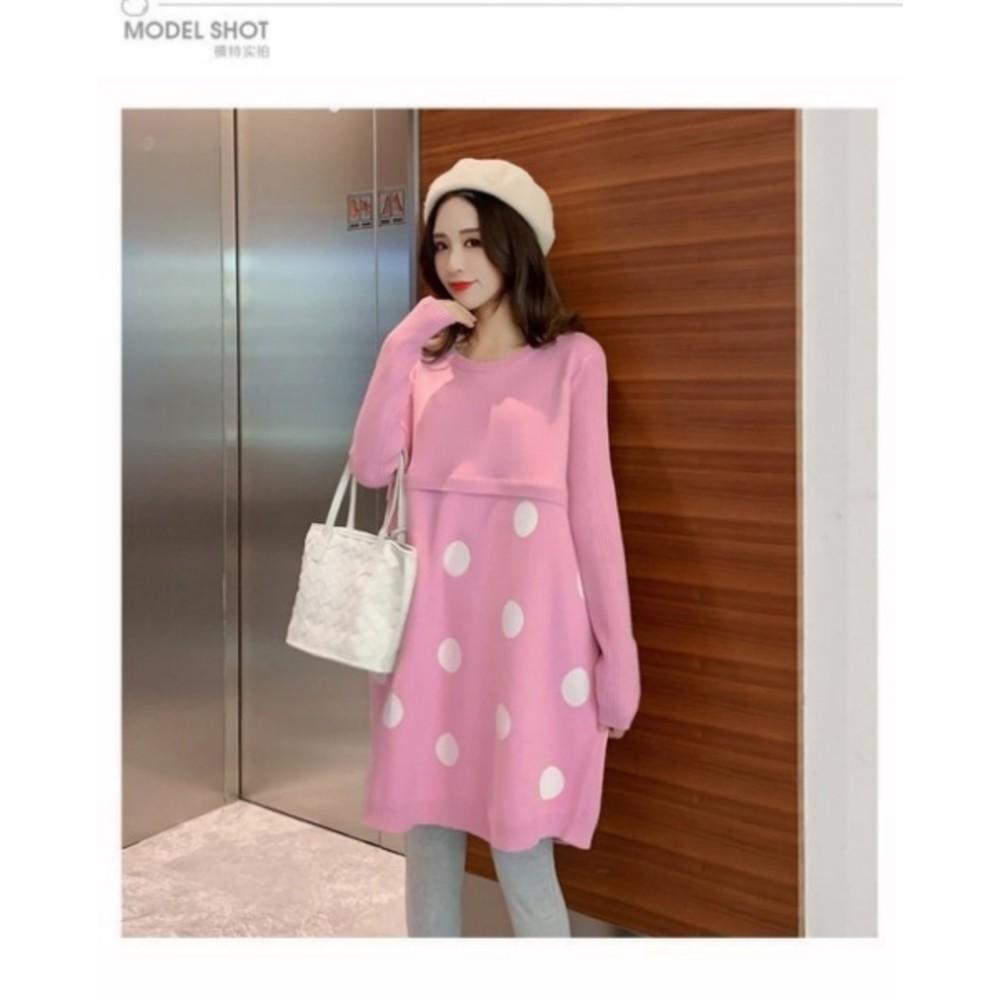 韓系 洋裝 【B5228】 哺乳 質感 長袖 針織 毛衣 孕婦裝 毛衣裙 針織洋裝 哺乳洋裝