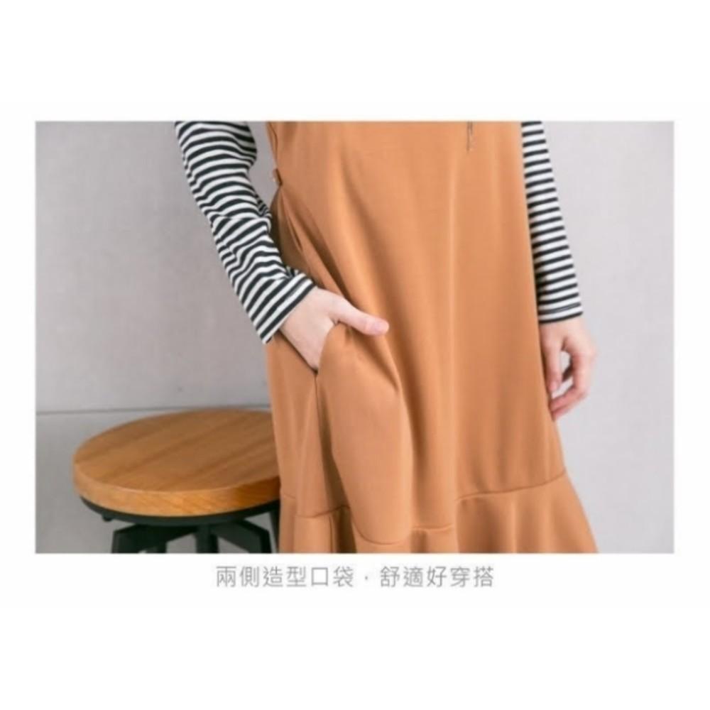吊帶裙十哺乳衣 【B5257GU】 孕哺二穿 哺乳條紋上衣 吊帶裙 波浪洋裝 孕婦裝 哺乳連