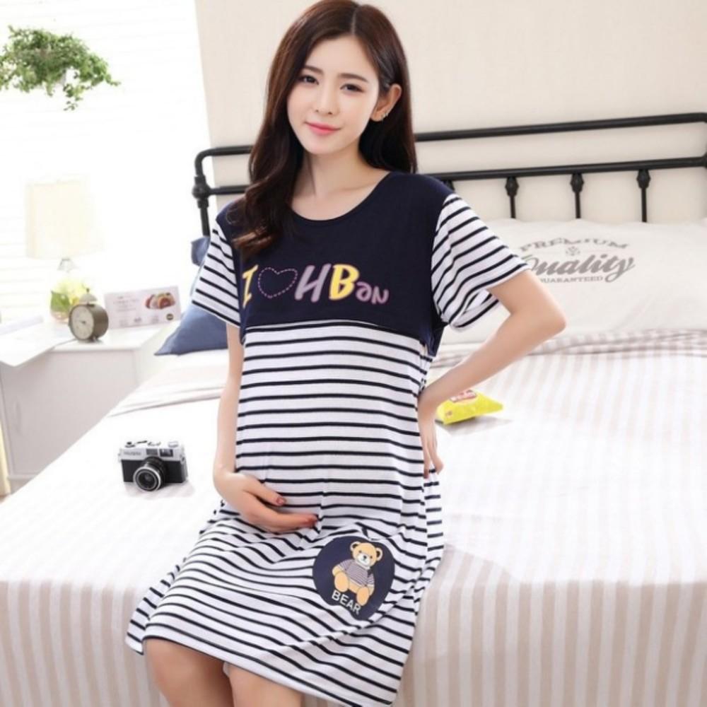純棉 哺乳裙 【B5924】貓咪與熊熊 坐月必備 月子服 哺乳衣 孕婦裝 睡衣 哺乳裝