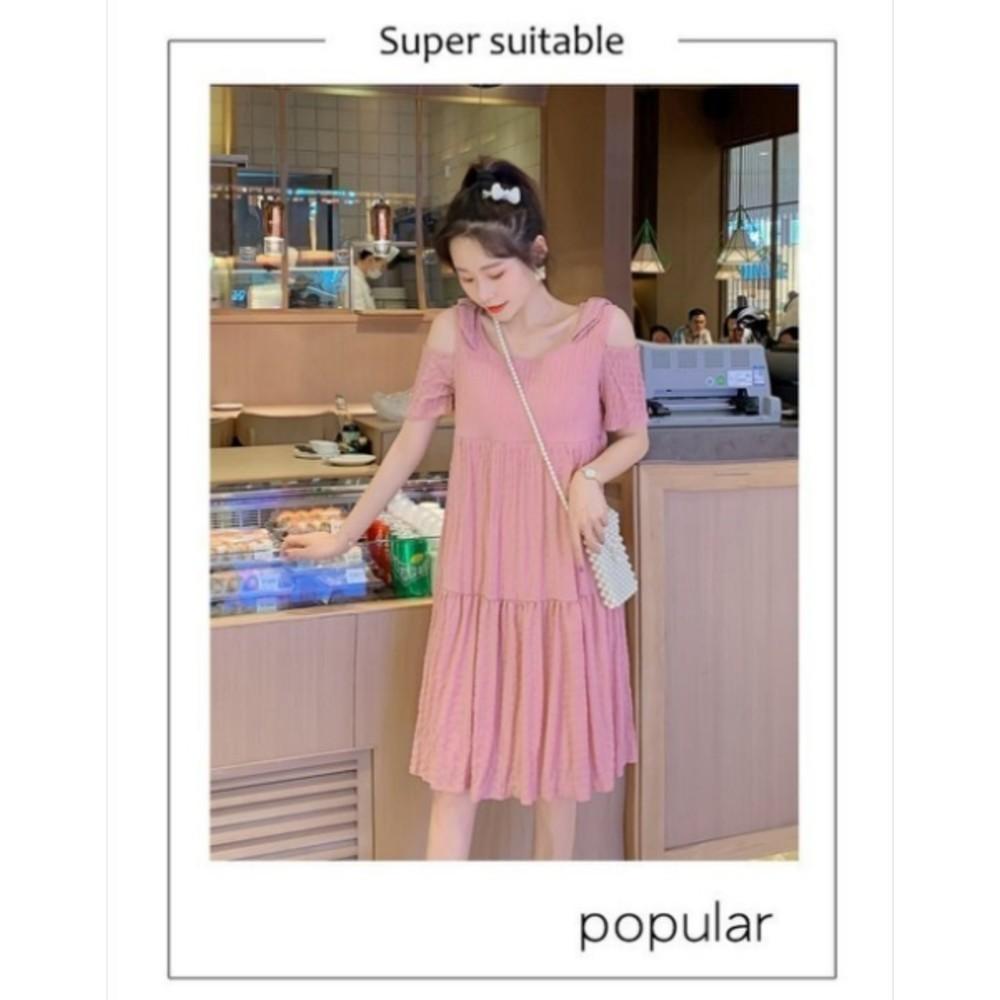裸肩 洋裝 【B6221】 露肩 短袖 哺乳 孕婦裝 孕婦洋裝 哺乳洋裝