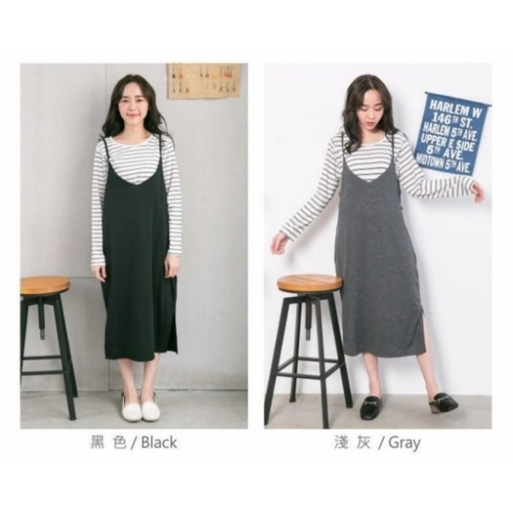 韓系哺乳裙 【B6257GU】 超值兩件組 條紋 哺乳衣 吊帶裙 背心裙 吊帶 長裙 長洋裝