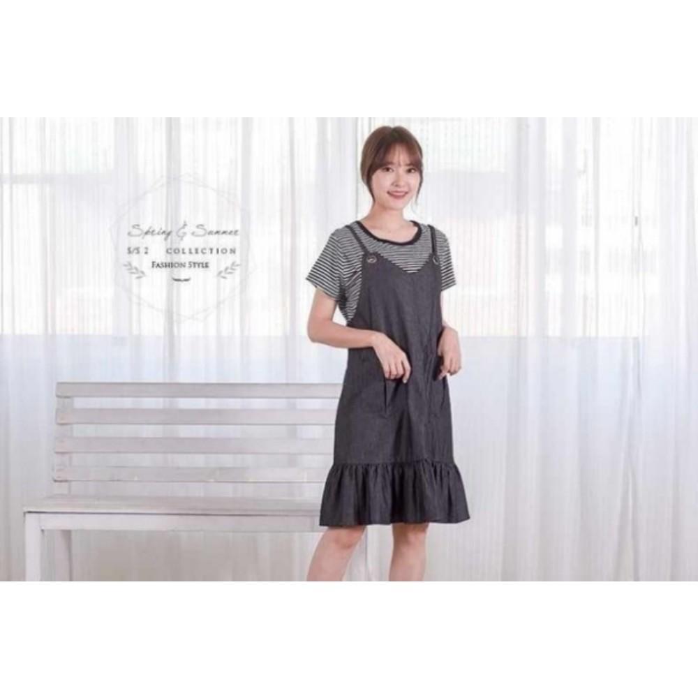兩件式 魚尾洋裝 【B6309GU】 背心裙 二件式 條紋 哺乳衣 吊帶裙 孕婦裝 魚尾裙