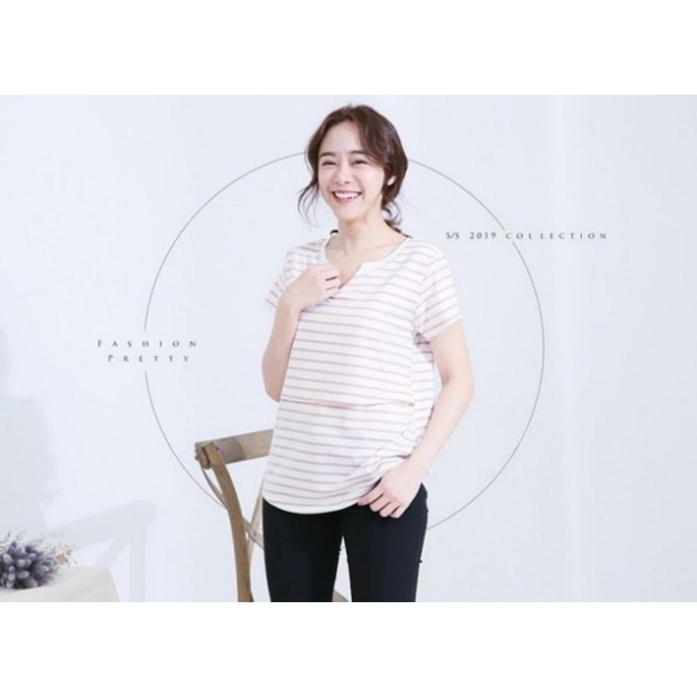 哺乳棉T【B6409GU】短袖 條紋 小V領口 哺乳衣 孕婦裝 V領 哺乳裝