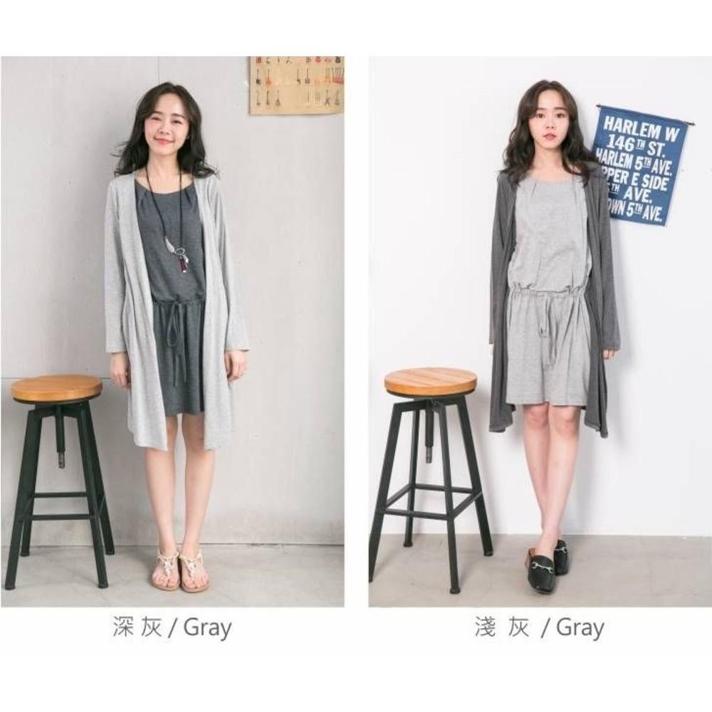 薄外套哺乳裙 【B6457GU】 假兩件 抽繩 綁帶 長袖 哺乳裙 撞色 孕婦裝