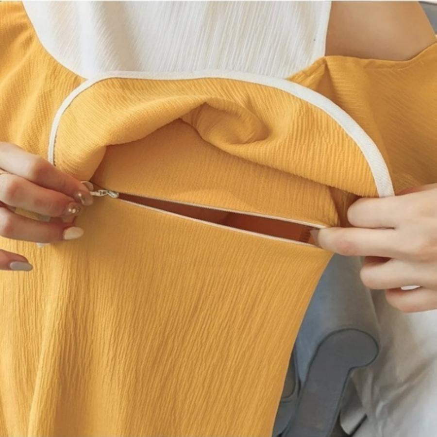 露肩洋裝 【B7056】迷人 裸肩 荷葉 撞色 孕婦裝 露肩 無袖 孕婦洋裝 哺乳衣