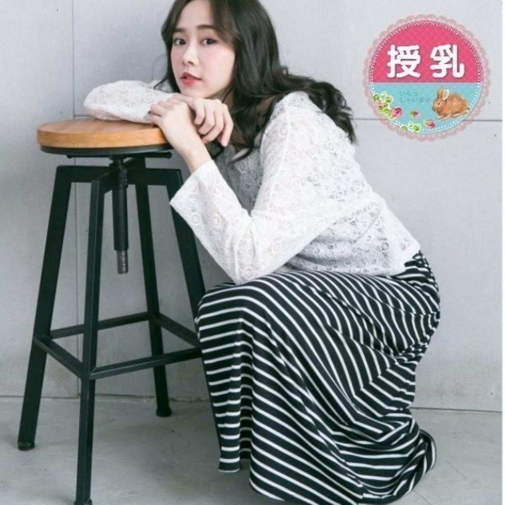 B7057GU-韓版哺乳裙 【B7057GU】 布蕾絲 兩件式 長袖 條紋 哺乳裙 哺乳棉T 背心裙 哺乳 長裙