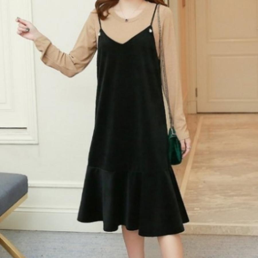 兩件式哺乳裙 【B7608】 絲絨 魚尾裙 背心裙 吊帶裙 孕婦裝 哺乳衣 波浪裙