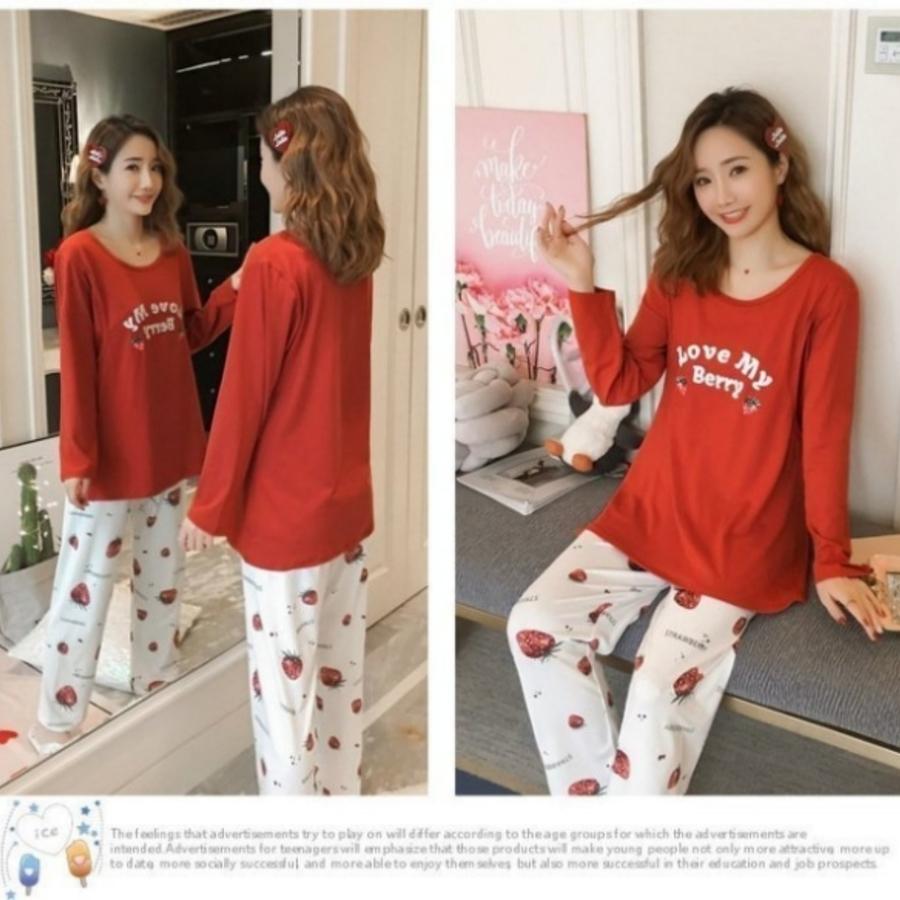哺乳套裝 【B7632】 草莓甜心 長袖 柔棉 哺乳睡衣 月子裝 哺乳裝 哺乳套裝
