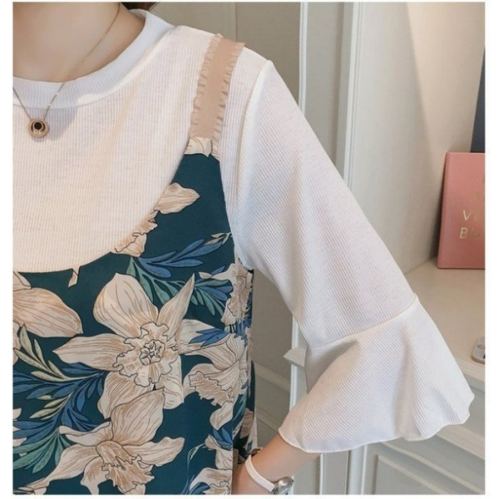 兩件式 洋裝 【B7687】 高質感 喇叭袖 哺乳裝 雪紡 吊帶裙 孕婦裝 魚尾裙