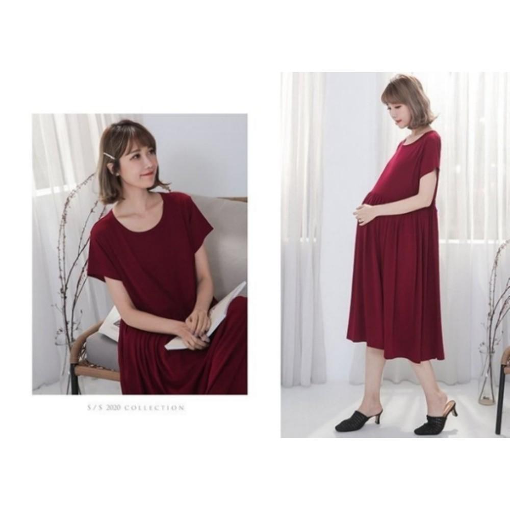 舒棉哺乳長洋裝 【B7700GU】 薄棉 孕婦連衣裙 短袖 長裙 孕婦裝 哺乳衣