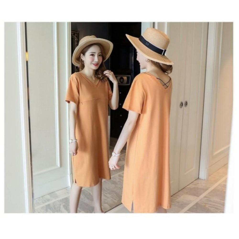 韓系哺乳裙 【B7840】 短袖 V領 純色 開叉 修身 顯瘦 哺乳裝 孕婦裝 哺乳衣洋裝