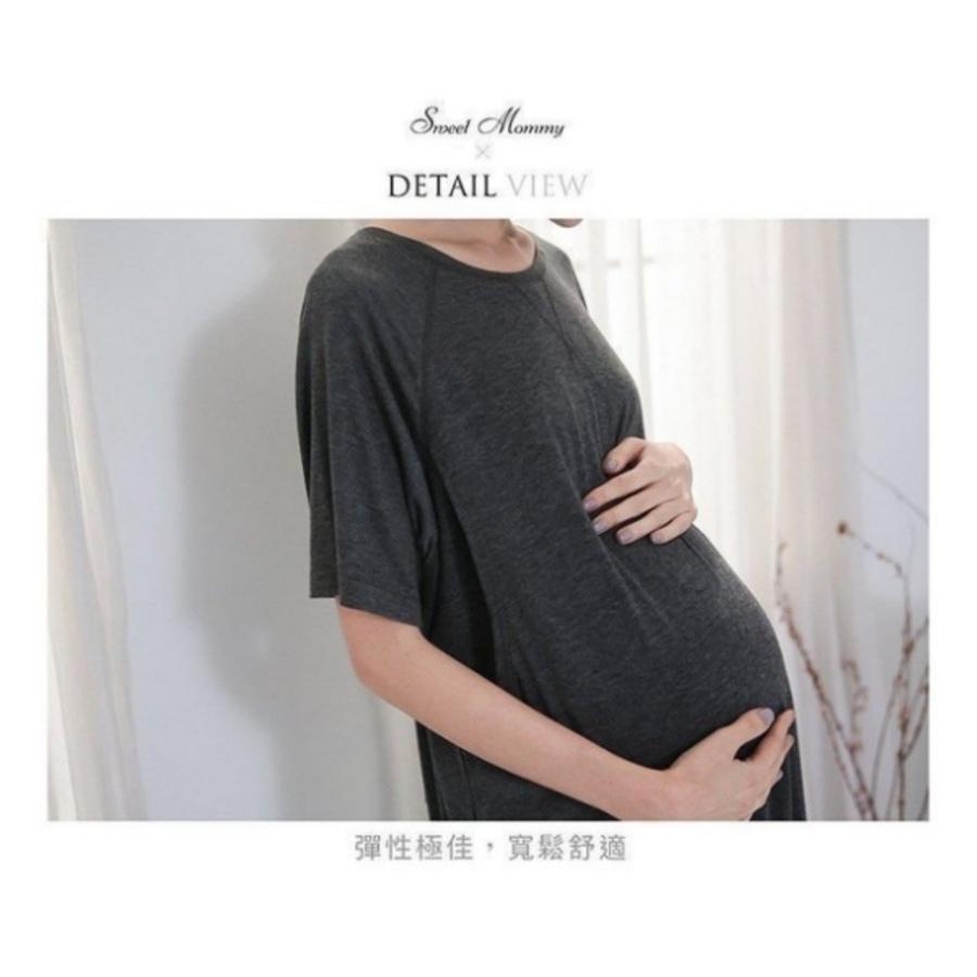 寬鬆哺乳洋裝 【B8700GU】 純色 中長款 短袖 哺乳衣 孕婦裝 哺乳裝 加大尺碼
