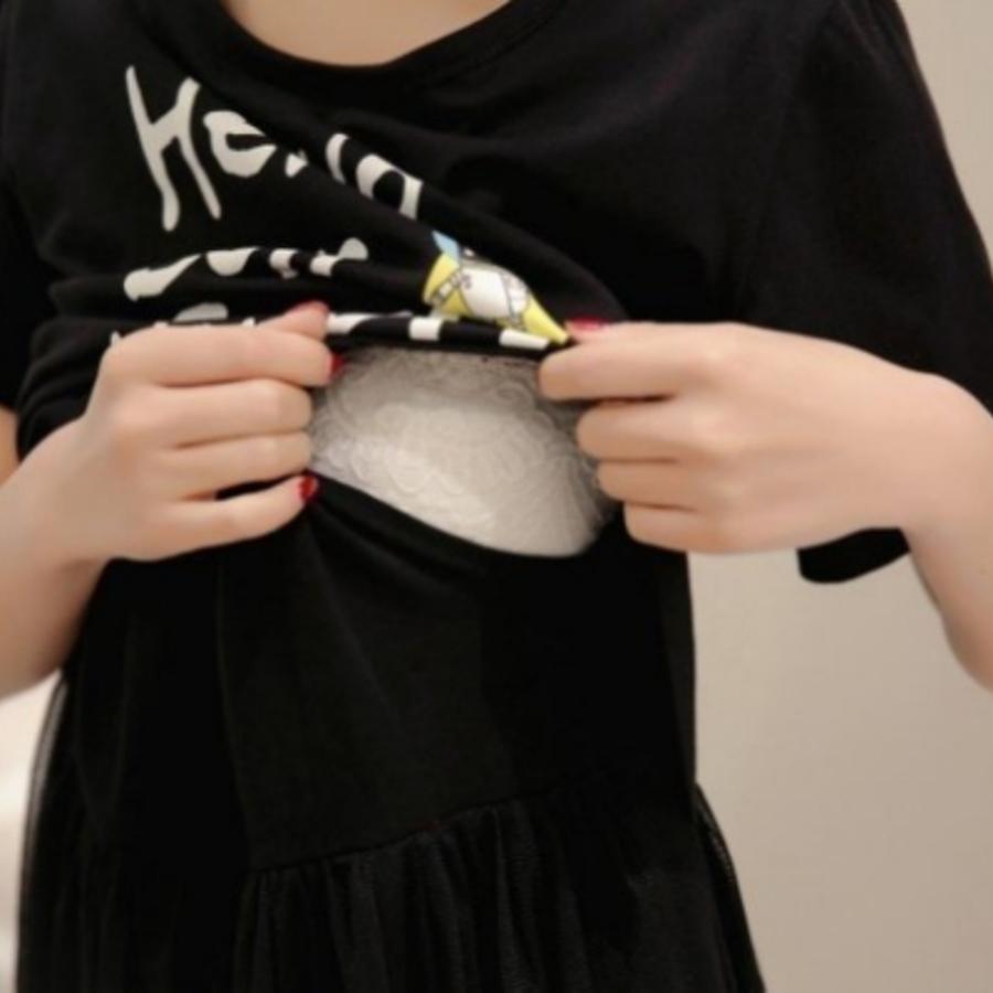 哺乳洋裝 【B9213】 字母 假兩件 紗裙 哺乳衣 短袖 蕾絲 拼接 網紗 孕婦裝