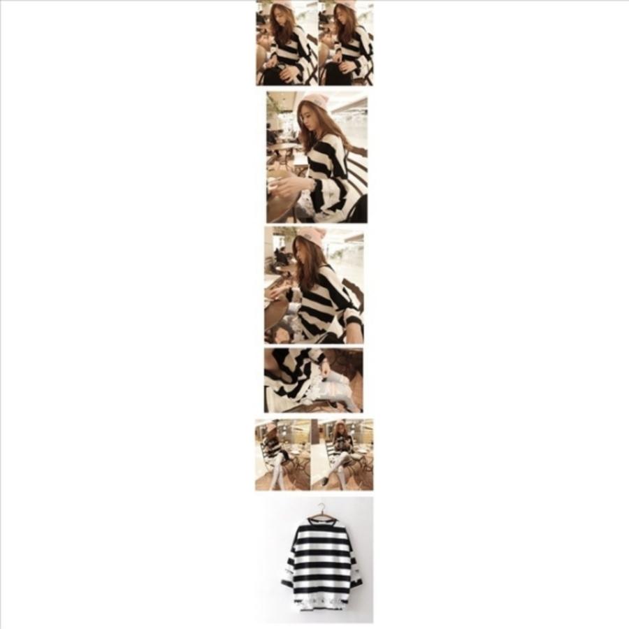 韓系 條紋 哺乳衣 【B9308】 蕾絲 長袖 落肩 哺乳上衣 寬鬆 哺乳裝 孕婦裝