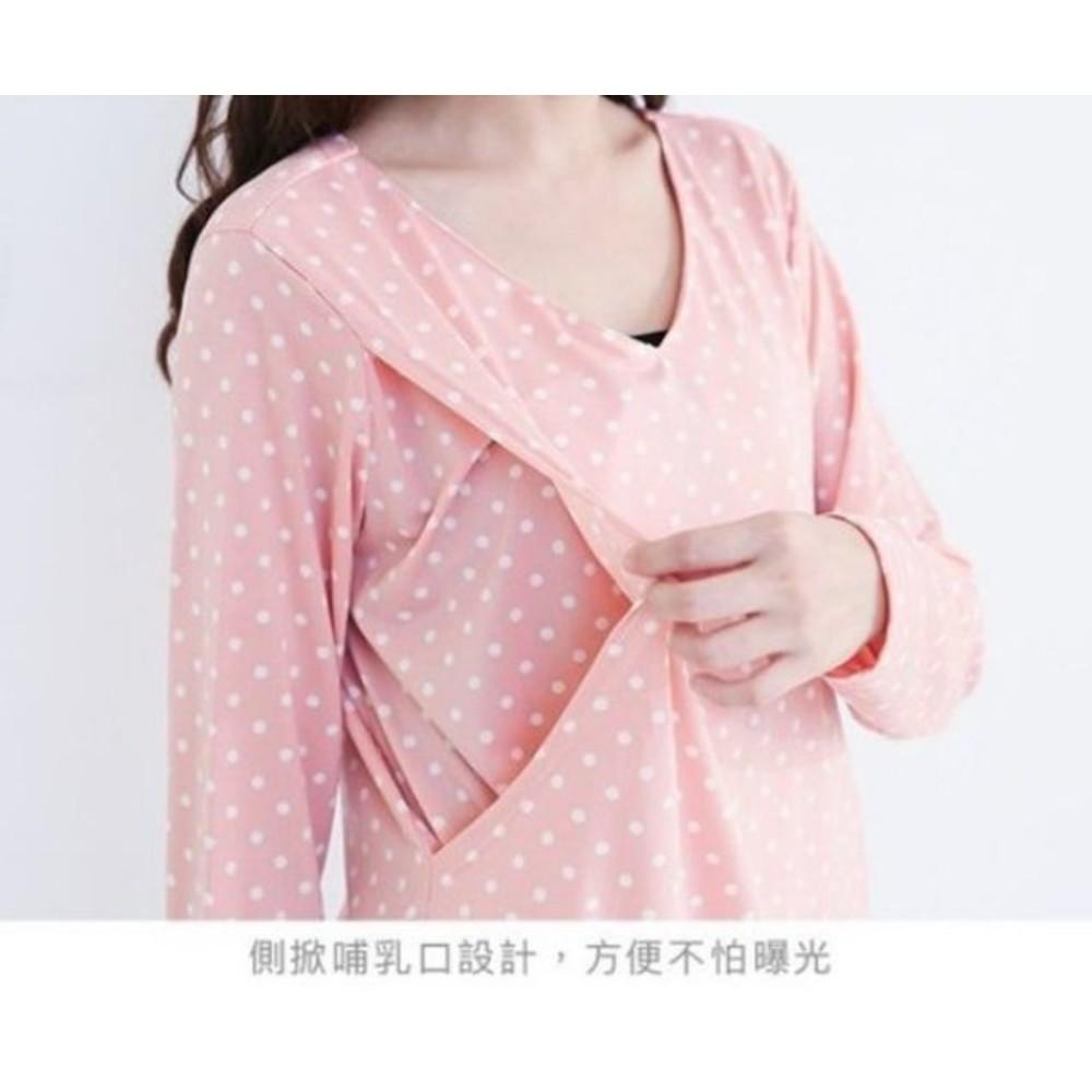 韓系長袖哺乳衣 【B9458GU】 V領 長袖 點點 哺乳T 孕婦裝 哺乳衣 月子服 哺乳上衣