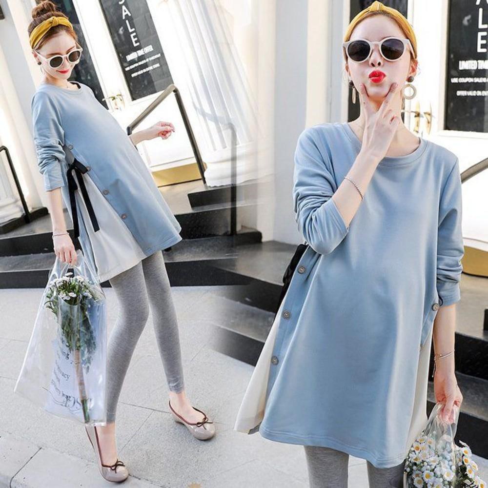 哺乳裙【B9861】韓版修身 顯瘦 長袖 拼接 雪紡 孕婦洋裝 孕婦裝 孕婦洋裝