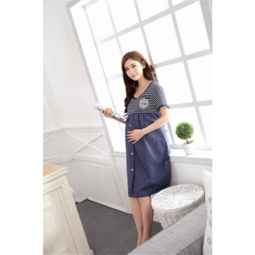 哺乳裙 【B9942】 條紋 短袖 哺乳衣 哺乳裙 孕婦裝 哺乳洋裝 孕婦裝