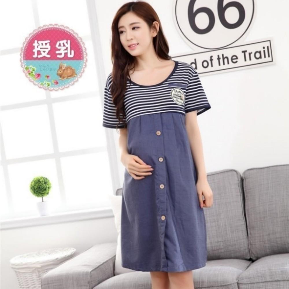 B9942-哺乳裙 【B9942】 條紋 短袖 哺乳衣 哺乳裙 孕婦裝 哺乳洋裝 孕婦裝