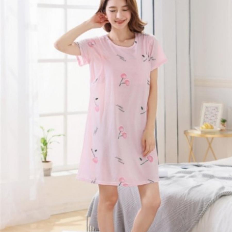哺乳裙 【B9961】 CHERRY 短袖 睡裙 哺乳衣 哺乳裙 孕婦裝 哺乳衣 睡衣